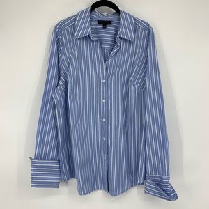 Lane Bryant Button Up Dress Shirt Blue White